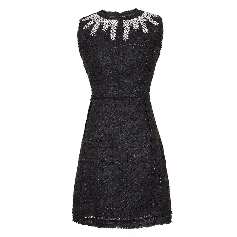 VERDEJULIAY หรูหราลูกปัดชุด 2019 ฤดูร้อนแฟชั่นแขนกุดคริสตัล Vintage ถัก Mini Slim สีดำสำหรับผู้หญิง-ใน ชุดเดรส จาก เสื้อผ้าสตรี บน   1