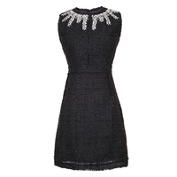 VERDEJULIAY Luxury Beaded Dresses 2019 Summer Fashion Sleeveless Crystal Vintage Knitted Mini Slim Black Dress for Women