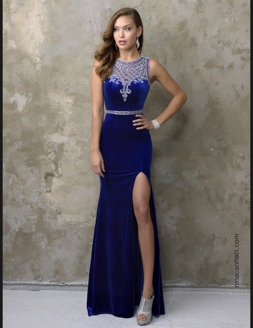 Unique Designer Royal Blue Mermaid Prom Dresses Women Scoop Neck Sparkly Beading Side Velvet Evening Dress Vestido De Festa