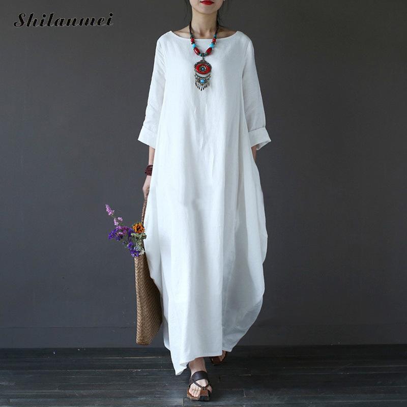 Plus Size 5XL 4XL Long Cotton Linen Dresses Women Spring Summer Boho White Beach Dress Long Sleeve Loose Vintage Causal Vestidos in Dresses from Women 39 s Clothing