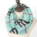 Nueva Moda de Invierno Raya Mujeres Encanto Zig Zag Chevron Infinito Chal Otoño Estampado Geométrico Bufandas Anillo Loop Bufanda A Cuadros Preciosos