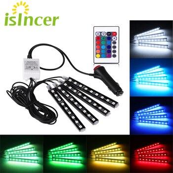 Voiture RGB LED bande 4*9 pièces SMD 5050 10W voiture intérieur décoratif atmosphère bande Auto RGB voie sol lumière télécommande 12V