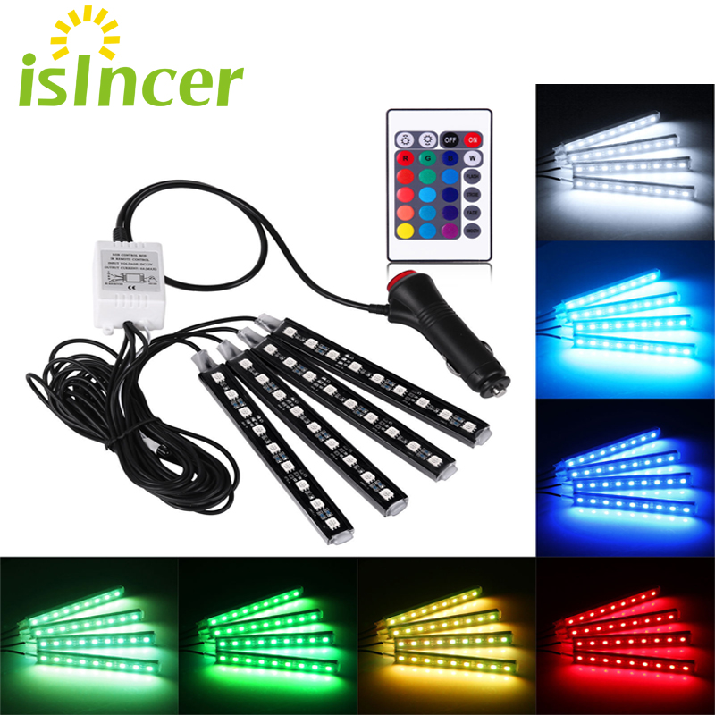 Car RGB LED Strip 4*9pcs SMD 5050 10W Car Interior Decorative Atmosphere Strip Auto RGB Pathway Floor Light Remote Control 12V