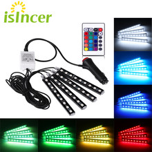Car RGB LED Strip 4*9pcs SMD 5050 10W Car Interior Decorative Atmosphere Strip Auto RGB Pathway Floor Light Remote Control 12V(China)