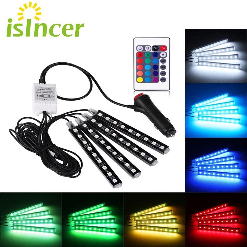 Coche RGB LED tira 4*9 piezas SMD 5050 10 W coche Interior decorativo atmósfera tira Auto RGB camino suelo luz Control remoto 12 V