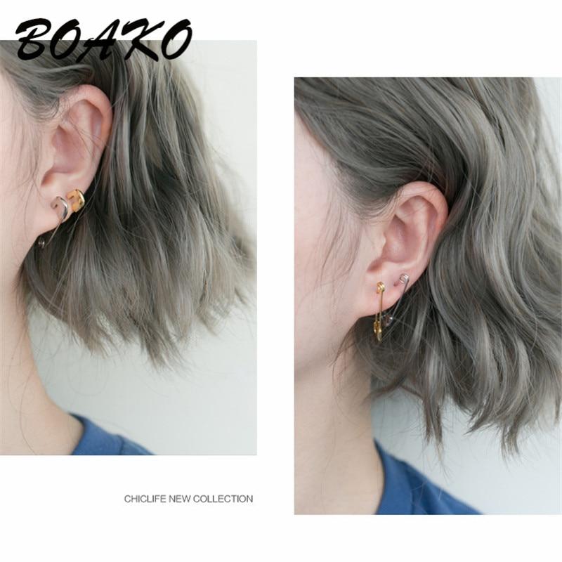 BOAKO Safety Pin Earrings Party Punk Personality Puncture Earrings for Women Unisex Stud Earrings 925 Sterling Silver Jewelry in Stud Earrings from Jewelry Accessories