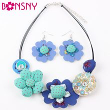 Bonsny Brand Fabric HANDMADE Statement Flower Necklace Earrings Jewelry Sets Choker Collar Fashion Jewelry For Women News(China)