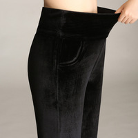 Winter Plus Velvet Skinny Leggings Women's Warm Velour Pants Plus Size 4xl High Waist Elastic Solid Casual Trousers Black Blue
