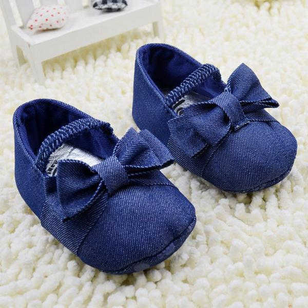 0-18M Baby Girl Kids Bowknot Soft Sole Demin Prewalker Crib Shoes Cotton Shoes