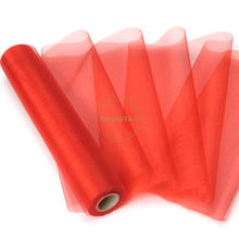 5 Rolls 25M x 29CM Red Sheer Organza Roll Fabric DIY Wedding Party Chair Sash Bows Table Runner Swag Decor Hot sale(China)