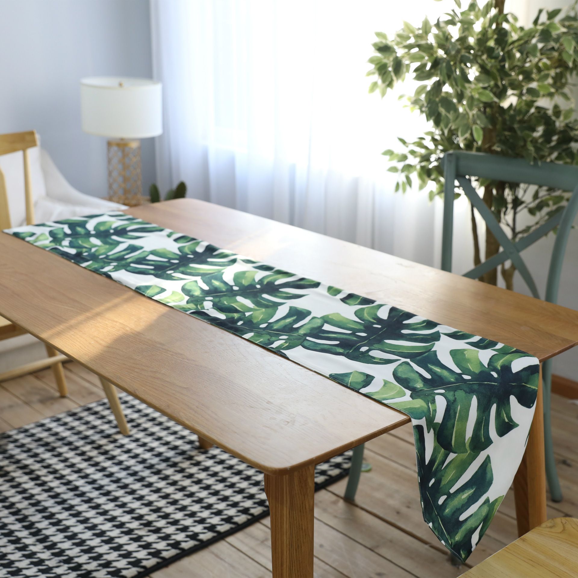 Bamboo Plant On Table: Waterproof Turtle Bamboo Plant Pattern Table Runner Green