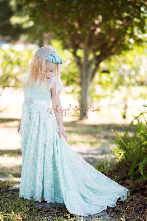 Mint green Elegant Crystals Sash Soft Lace junior bridesmaid for kids Girls Flower Girl Dresses beach wedding party gown
