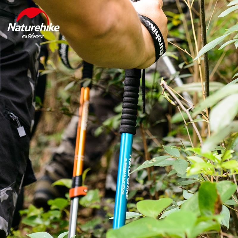 Naturehike 3 Node Trekking Adjustable Pole Level Qualified Adult Child Golden Walking Hiking Mountain-climbing Sticks Ultralight