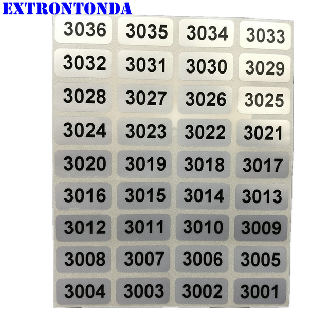 1000 Silver Consecutive Number Labels 3001 to 4000 Inventory