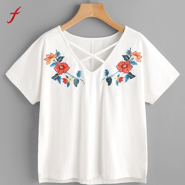Women flower embroidery shirt short sleeve tees ladies