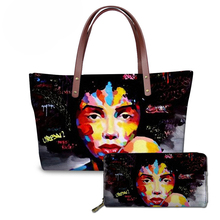 NOISYDESIGNS Purse&Handbags Women Black Art African Girls Printing Top-Handle Bags Ladies 2pcs/set Hand Tote Bag Feminine Bolsa