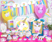 Baby Shower Birthday Decor Unicorn Party Set Of YAY Garland+ Unicorn Mask + Cake Topper+ Photo Booth Props + Unicorn Wrappers