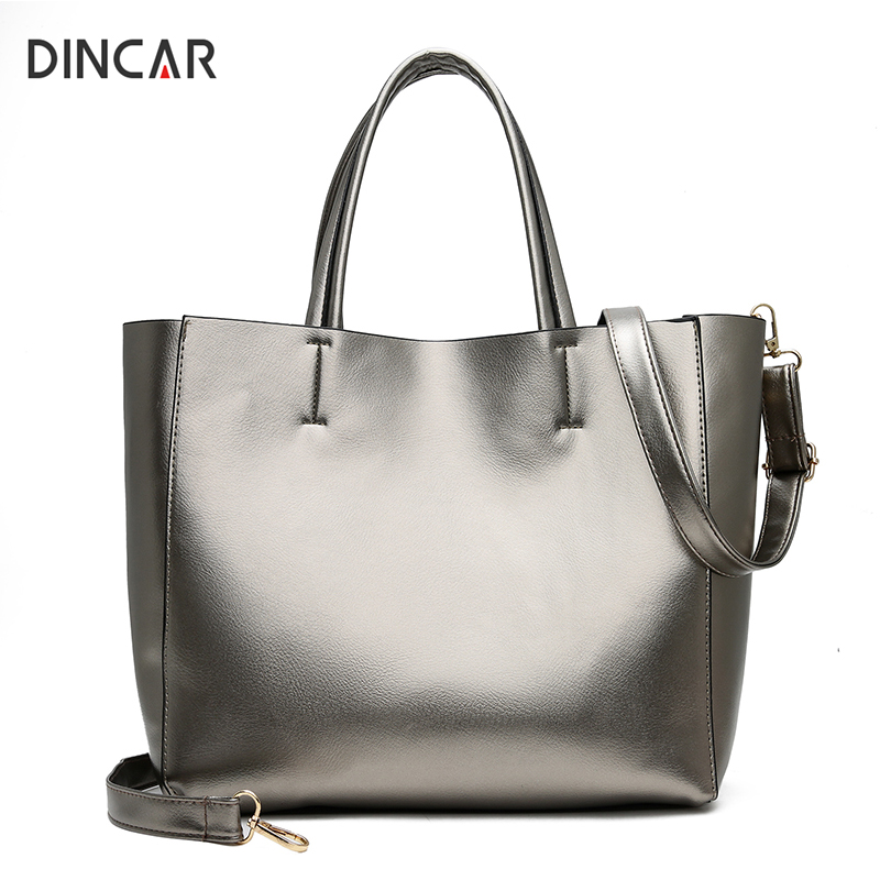 DINCAR Leisure Women Bag High Quality Pu Leather Handbags Set Female Big Shoulder Bag Silver Gold Ladies Large Capacity Tote Bag herald fashion women handbags large capacity tote bag high quality pu leather shoulder bag causal ladies crossbady bag
