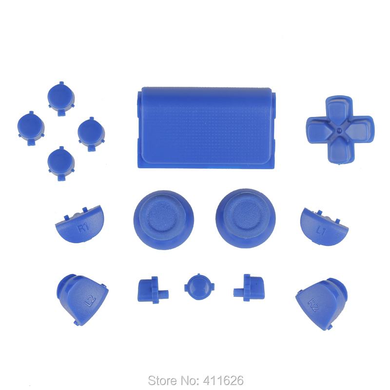 10 sets / lot solid blue full set buttons for PS4 games controller free shipping