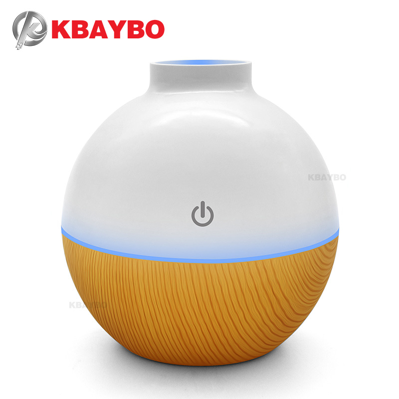 USB Ultrasonic Humidifier 130ml Aroma Diffuser Essential Oil Diffuser Aromatherapy mist maker with 7 color LED Light