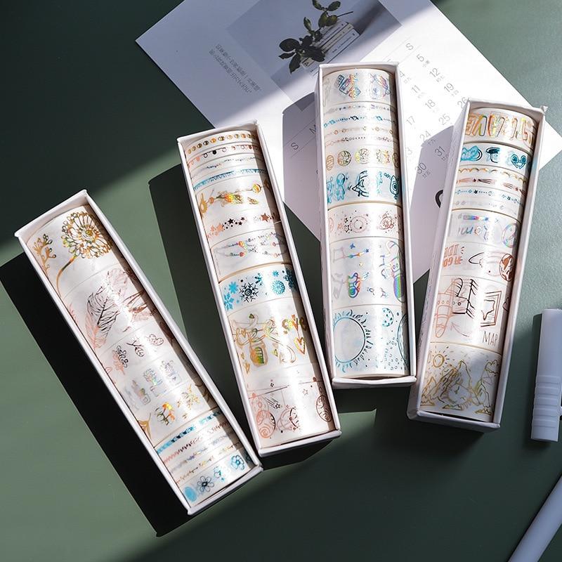 10 Pcs/pack Laser Gilding Travel Plant Bullet Journal Washi Tape Set Adhesive Tape DIY Scrapbooking Sticker Label Masking