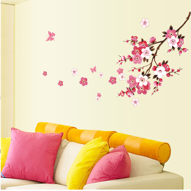 120x50cm Cherry Blossom flower Wall Stickers Waterproof Background Wall Sticker 739 Decors Murals decals for Bedroom