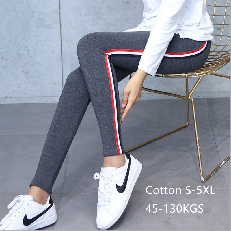 Image 4 - Plus Size 5XL Quality Cotton Leggings Side Stripes Women Casual High stretch Leggings Pants High Waist Fitness Leggings Female-in Leggings from Women's Clothing