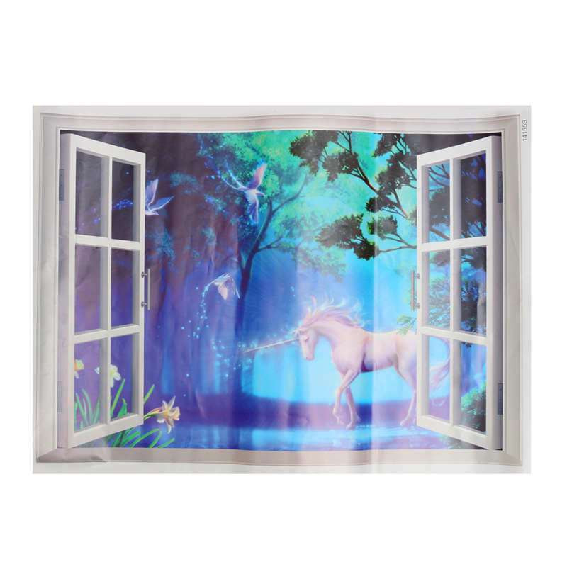 Cute Horse Decorative Mirrors 3D Window Magical Unicorns Mural Art Home Wall Decorative Sticker For Living Room Baby Bedroom ...