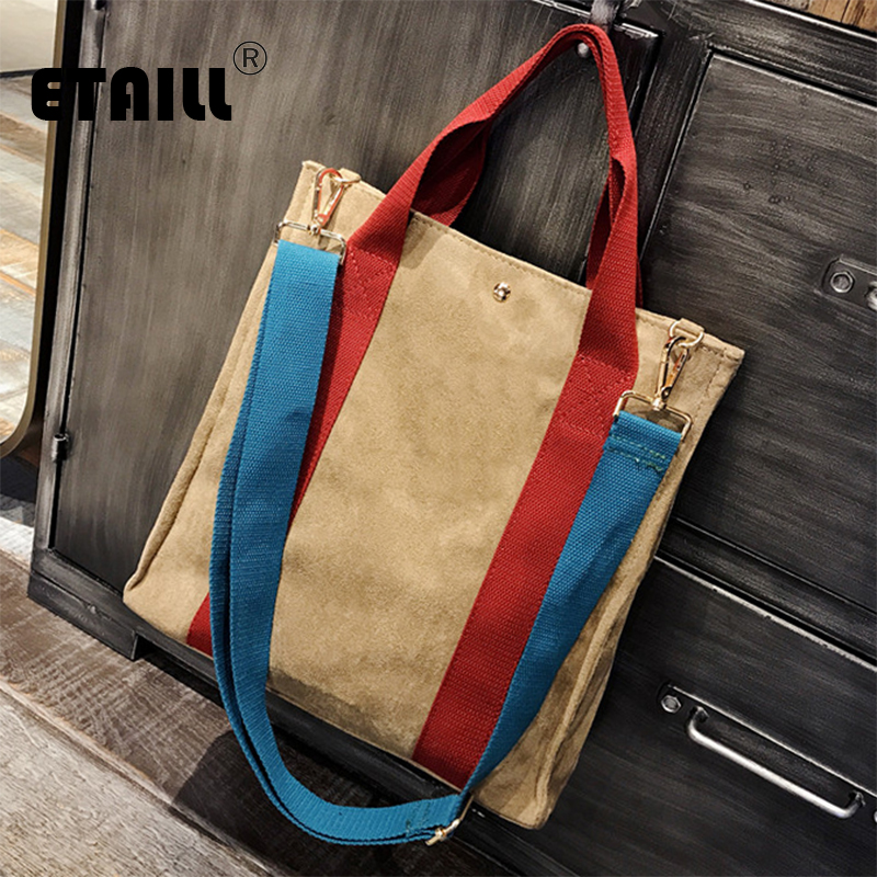 ETAILL 2018 Hit Color Panelled Handbags High Quality Winter Cotton Casual Tote Bags Shoulder Bags Women Fashion Top-handle Bag