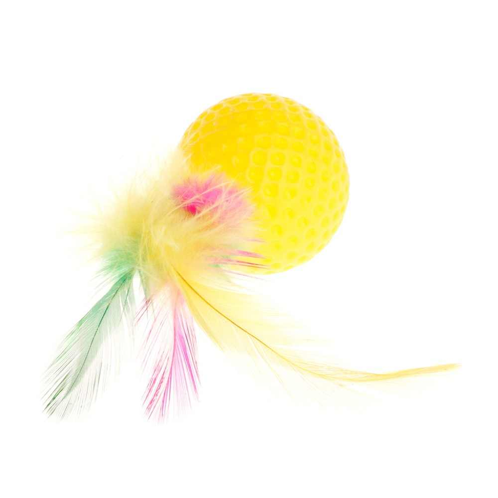 Котик-тизер мяч для гольфа перо красочные игрушки скрипучие игрушки для домашних животных умная Интерактивная смешная собачка щенок товары для котят