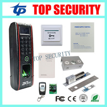 ZK TF1700 fingerprint access control system with electric bolt lock, power supply, exit button full fingerprint door lock system