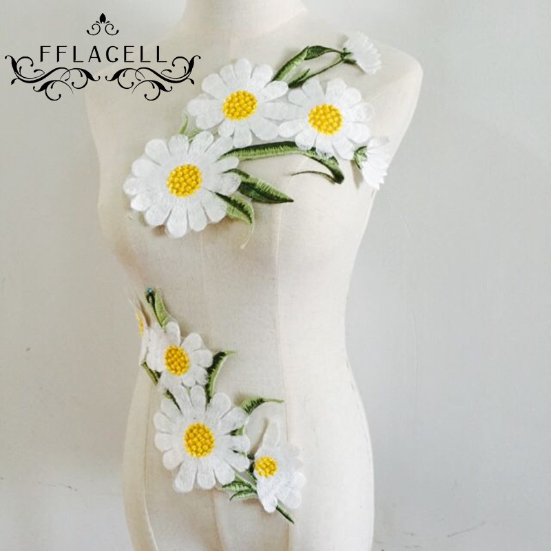 Daisy flower embroidered lron on patch lace applique