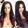 Длинные волнистые половина машина сделала ombre человеческих волос парик 1b T 99j парик фронта шнурка виргинских бразильских Волос ломбер парик шнурка с волосами младенца