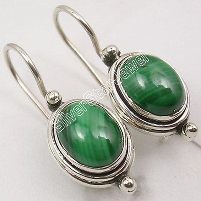 Brincos verdes! Rare prata MALAQUITA Jóias DIRETO DA FÁBRICA 2.5 CM
