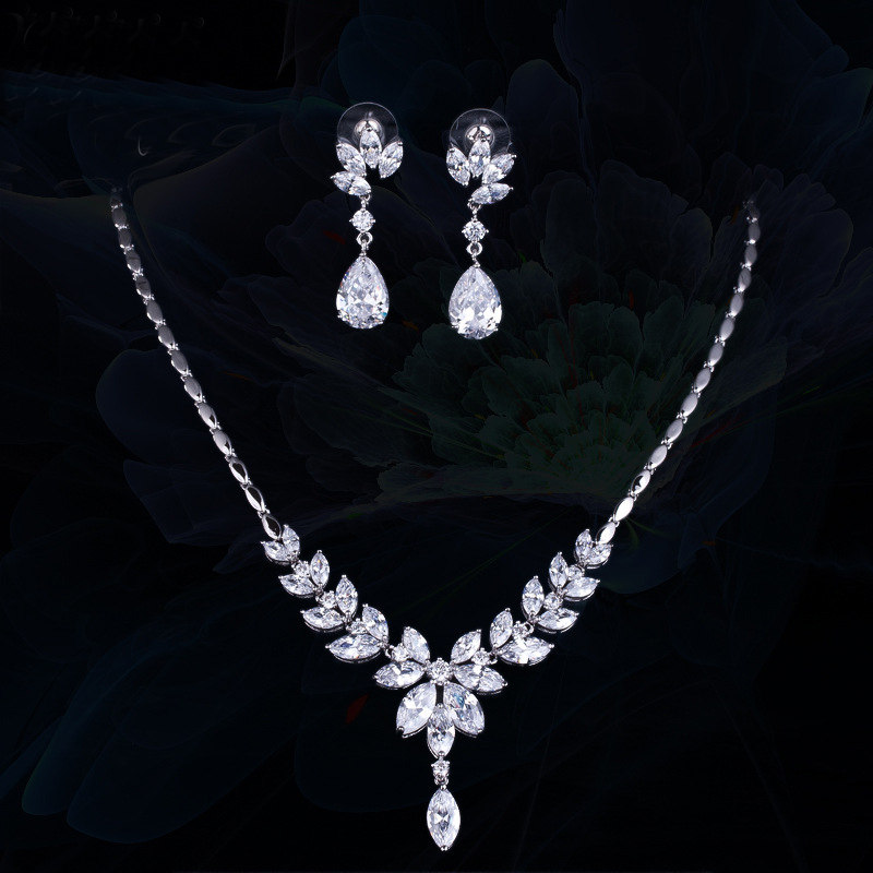 Women Wedding Evening Party Jewelry White CZ Crystal Bridal Costume