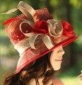 Женщин Sinamay Hat Церковь Дерби Свадебный Коктейль Вечер Широкими Полями Cap Цветок Платье Вс hat Шапочки Берет Головные Уборы Ручной Работы