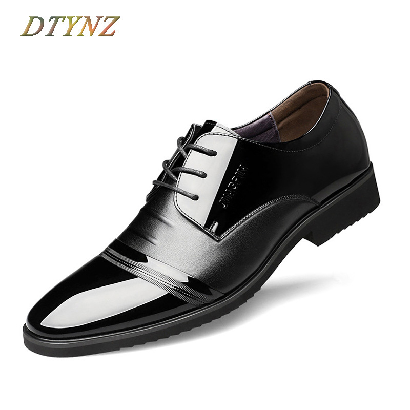 DTYNZ Men Dress Shoes Formal Leather Shoes Breathable Brand 2018 Office Wedding Lace-Up Oxfords Size 38-48 Zapatos Hombre Vestir