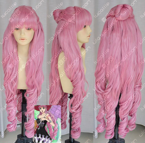 цена на ONE PIECE Perona Halloween Wavy Hair Cosplay Party Wig Curly Wig+Six Ponytails