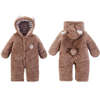 Winter Baby Rompers Clothes Bear Style Baby Coral Fleece Brand Hoodies Jumpsuit Baby Girls Boys Romper