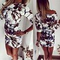Летняя Мода Повседневная Женщины Платье Половина Рукава Асимметричный шеи Платье Оболочка Bodycon Платья