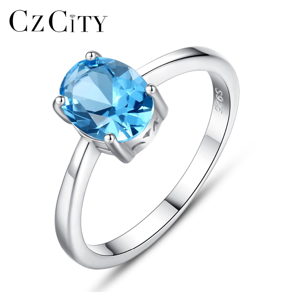 CZCITY Natural Solitaire Sky Blue Oval Topaz Stone Sterling Silver Ring For Women Fashion S925 Fine Jewelry Finger Band Rings