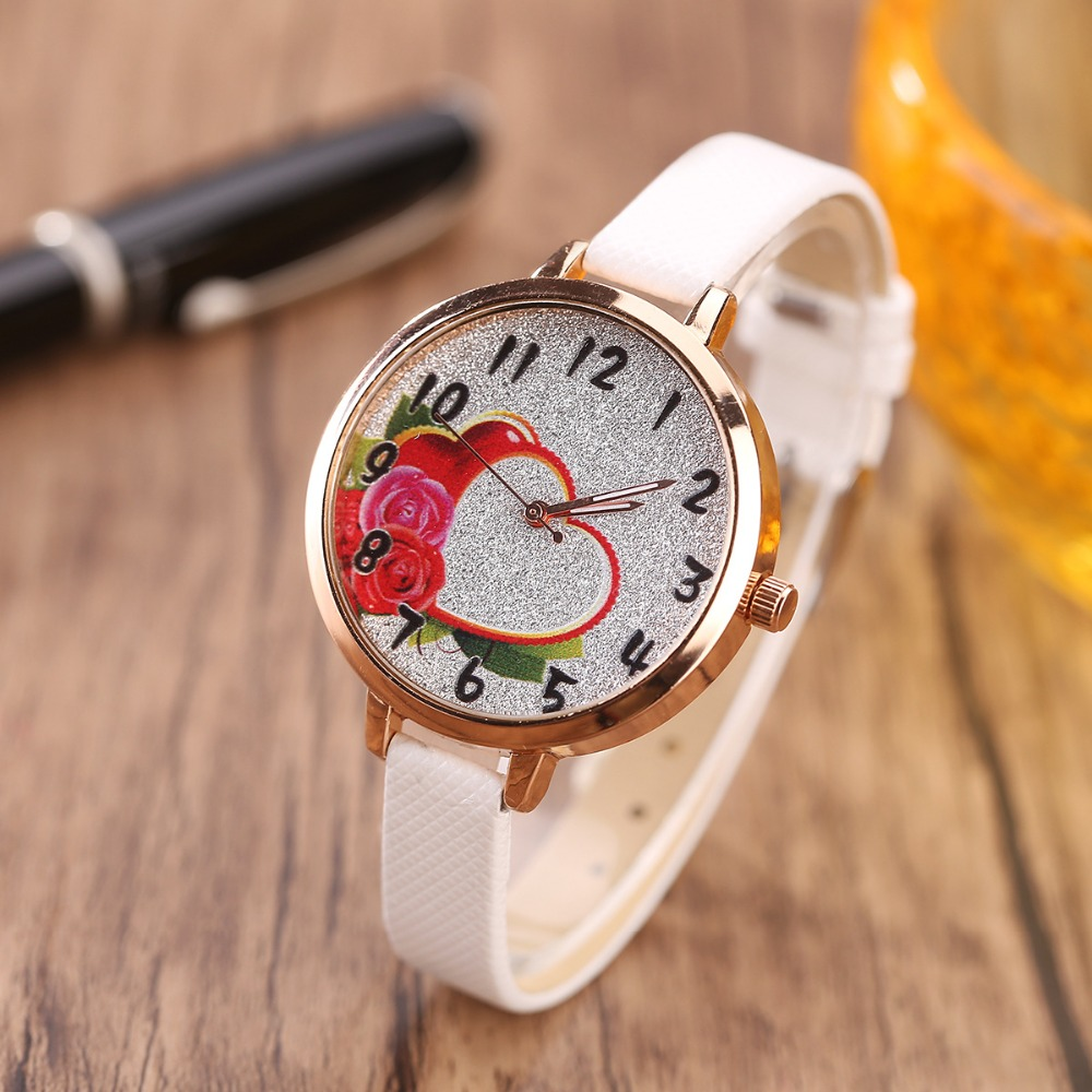 2017 Love Hearts child Watches Girl Leather Printing Strap Cartoon Kids Watch Students Quartz Wristwatch Casual Fashion 8 colors