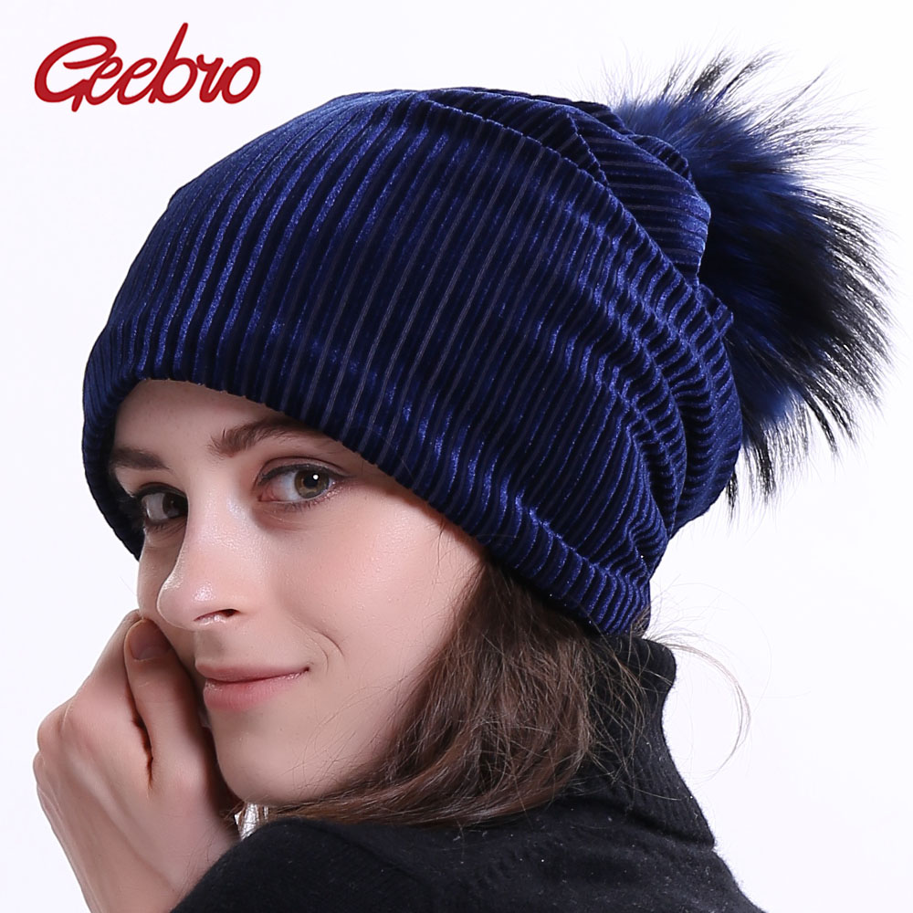 Geebro Women's Ribbed   Beanie   Hat with Raccoon Pompom Winter Warm Velour Slouchy   Beanies   Hats for Women Balavaca   Skullies  &  Beanies