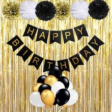 happy birthday banner balloon Tissue Pom Poms For 16th 18th 21st 30th 40th 50th 60th adult kid boy girl decoration gold black