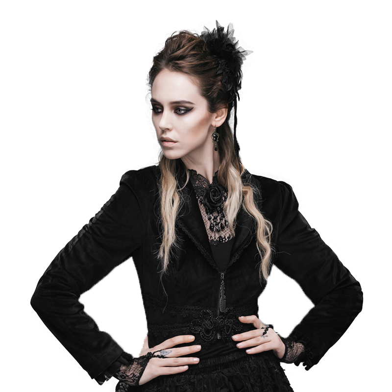 Steampunk Gothic Sexy Women's Jacket Ladies Long Sleeve Lace Short Coat Turn-down Collar Tail Coats With Rose Flower Tails CT019