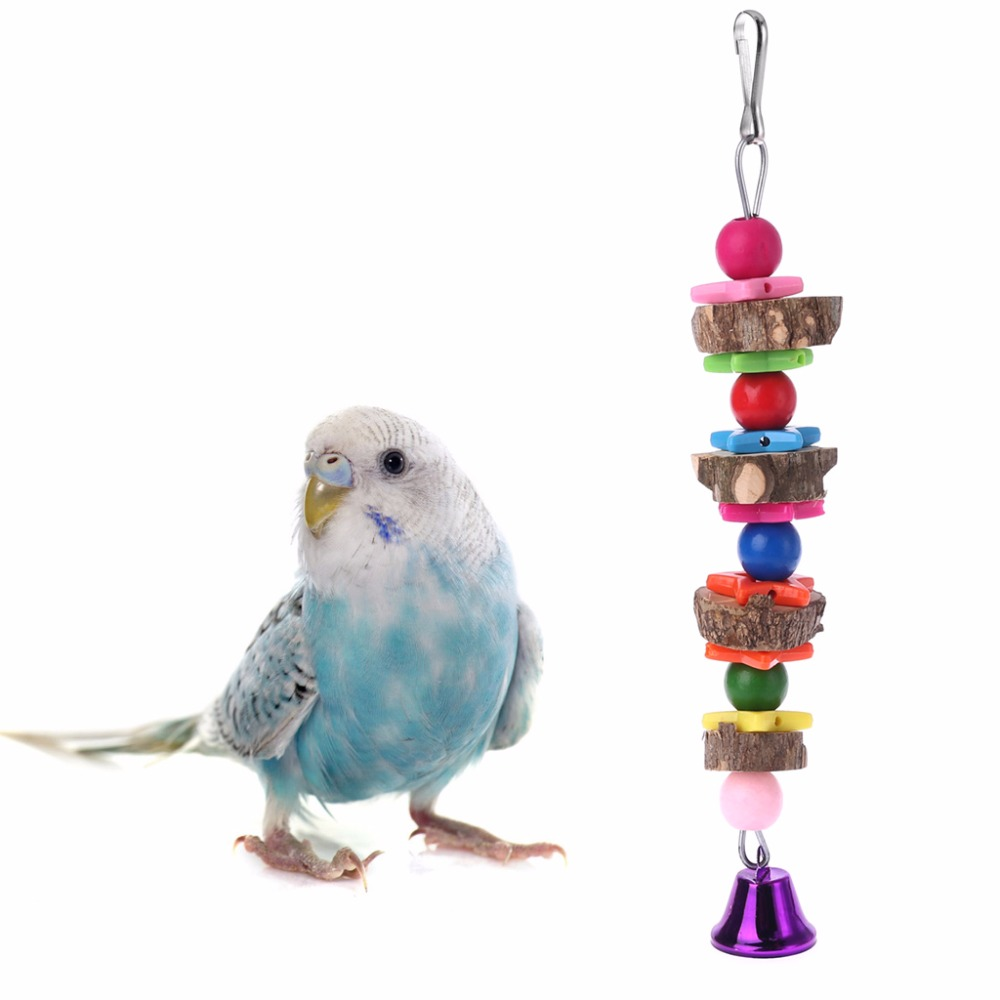 Pet Natural Wooden Bird Parrot  Colorful Toys Chew Hanging Cage Concave Convex Bell Birds Parrots Toy