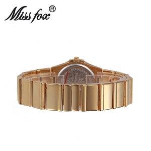 Image 4 - Miss Fox relojes de muñeca para mujer, reloj de lujo para mujer, dorado con piedras, marcas famosas con logotipo con moda, relojes casuales, 2017