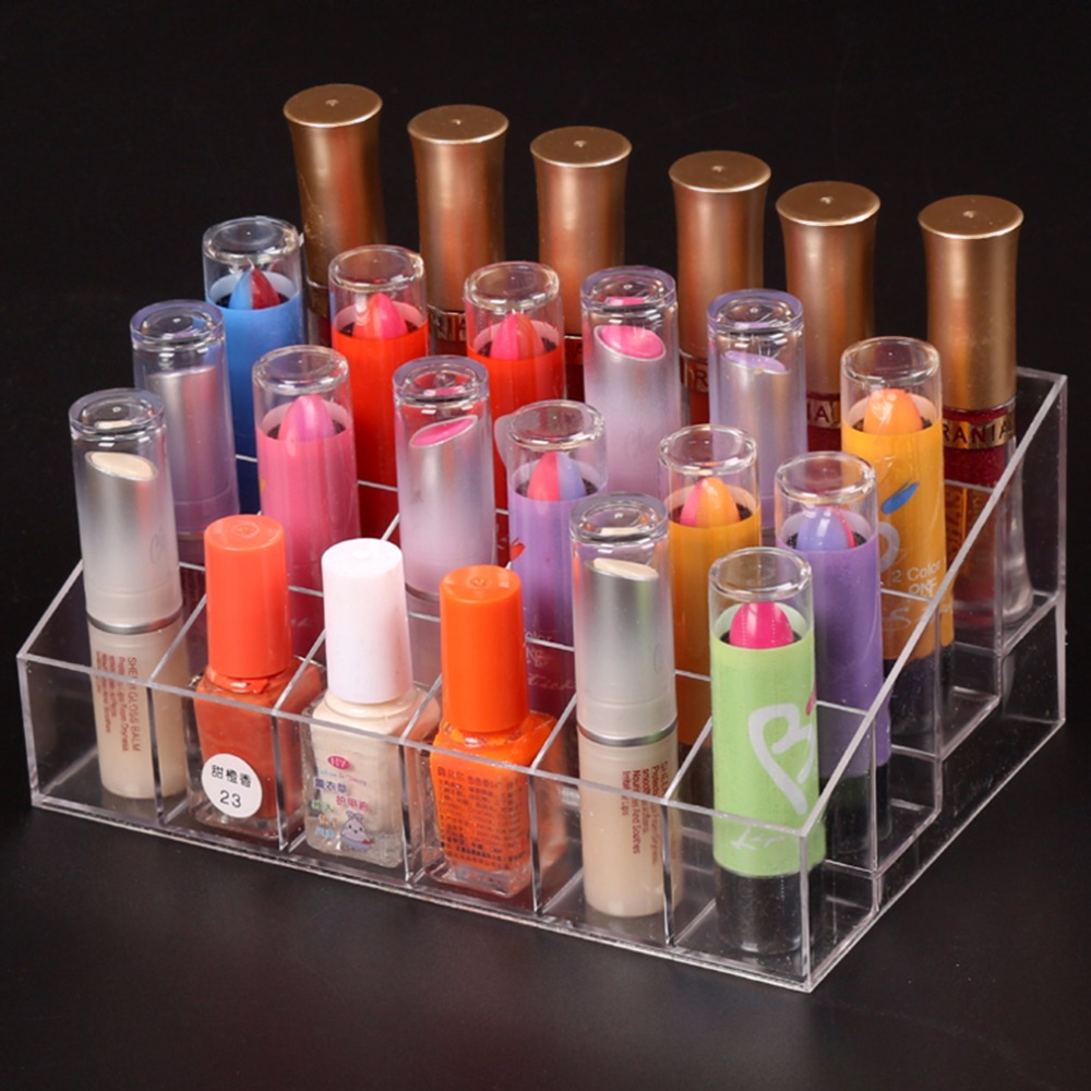 Hot 24 Lipstick Holder Display Stand Clear Acrylic Cosmetic Organizer Makeup Case Sundry Storage makeup organizer organizador