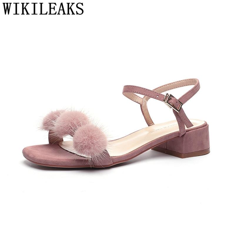Heel Sandals Fur-Heels-Block Shoes Open-Toe Woman Slingback Fetish Black