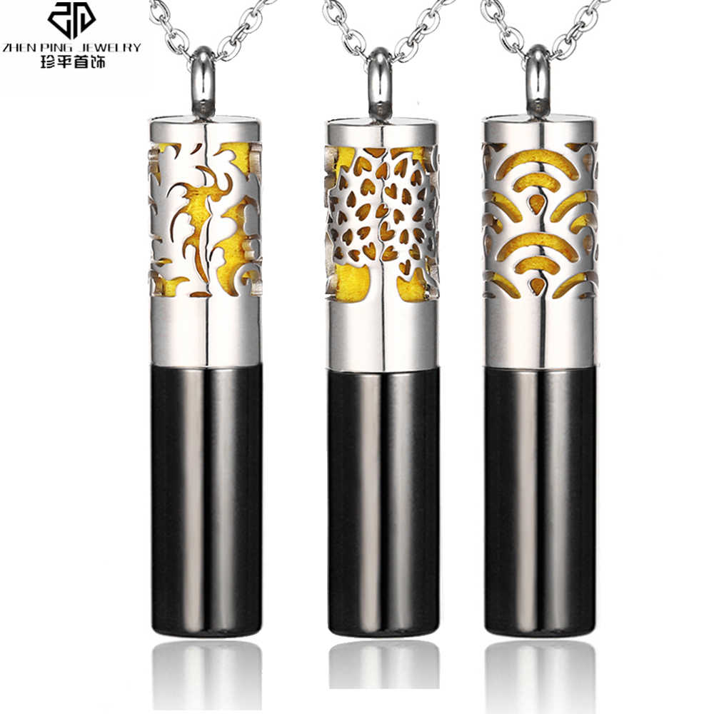 Charm Perfume Diffuser Necklace Stainless Steel Essential Oil Bottle Anti Anxiety Aromatherapy Diffuser Locket Whistle Pendant